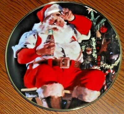 "8"" SANTA CLAUS COCA COLA A REFRESHING PAUSE plate COKE"