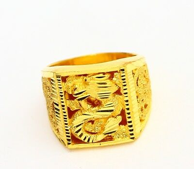22k gold sparkling dragon ring handmade from Thailand #15 ( free sizing 6 - 10 )