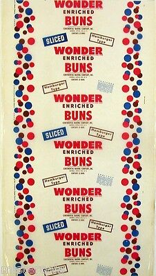 Vintage bread wrapper WONDER ENRICHED BUNS Hamburger Type Continental Rye NY