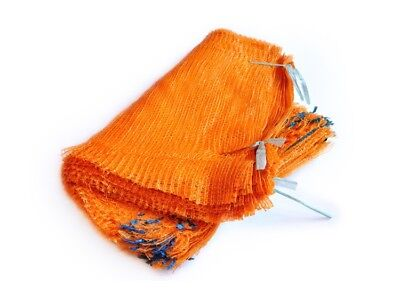 100 Orange Net Sacks 55cm x 80cm / 30Kg Mesh Bags Kindling Logs Potatoes Onions