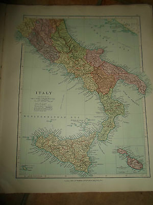 MAP c1920 ITALY SOUTH Taken From Stanfords London Atlas of Universal Geography