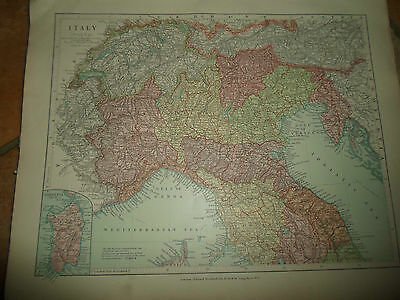 MAP c1920 ITALY NORTH Taken From Stanfords London Atlas of Universal Geography