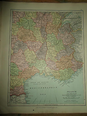 MAP c1920 FRANCE SOUTH EAST From Stanfords London Atlas of Universal Geography