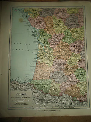 MAP c1920 FRANCE SOUTH WEST From Stanfords London Atlas of Universal Geography