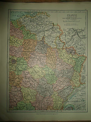 MAP c1920 FRANCE NORTH EAST From Stanfords London Atlas of Universal Geography