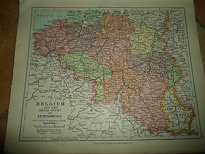 MAP c1920 BELGIUM+LUXEMBURG From Stanfords London Atlas of Universal Geography