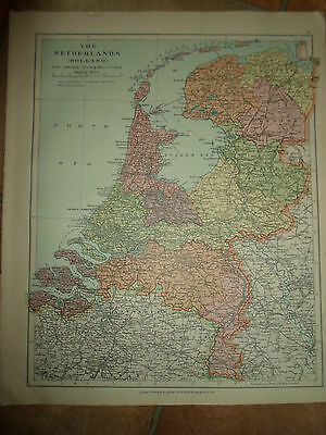 MAP c1920  NETHERLANDS  - HOLLAND Stanfords London Atlas of Universal Geography