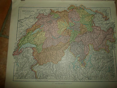 MAP c1920 SWITZERLAND Taken From Stanfords London Atlas of Universal Geography