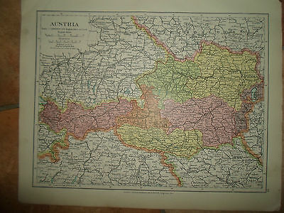 MAP c1920 AUSTRIA Taken From Stanfords London Atlas of Universal Geography