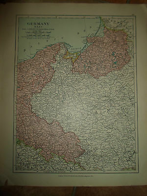 MAP c1920 GERMANY EAST Taken From Stanfords London Atlas of Universal Geography