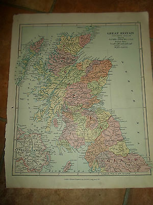 MAP c1920 GT BRITAIN NORTHERN SEC Stanfords London Atlas of Universal Geography