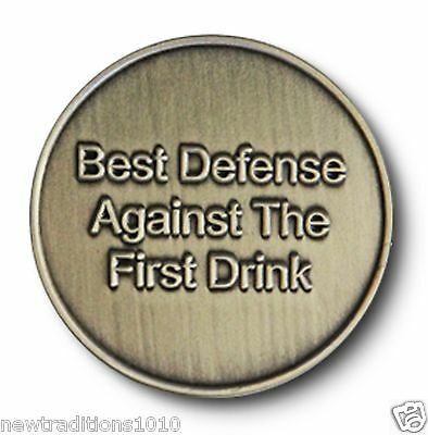 "Brnz ""Best Defense"" Utility C/T AA 12 Step Recovery Program Coin/Medallion/Chip"
