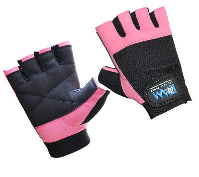 Dam Weight Lifting Gym Gloves Leather Pink Slim Fitting Women's Only Gym Exercse