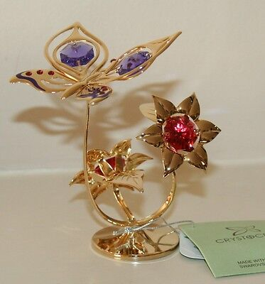 Crystocraft Butterfly on Flowers Ornament Strass Swarovski Crystal Elements
