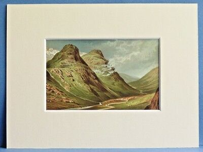 GLENCOE PASS SUPERB QUALITY RARE MOUNTED ANTIQUE CHROMO PRINT c1890 8X6 OVERALL