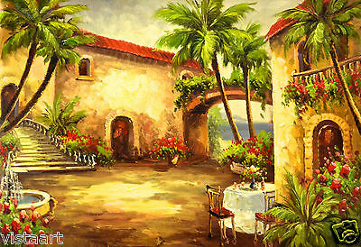 "Quality Oil Painting on Stretched Canvas 24""x 36""-Picnic in Courtyard"