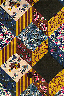 Antique 1880 Patchwork Pattern Fabric