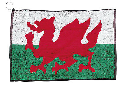 New Masters Wales Welsh Flag large golf towel clips to bag