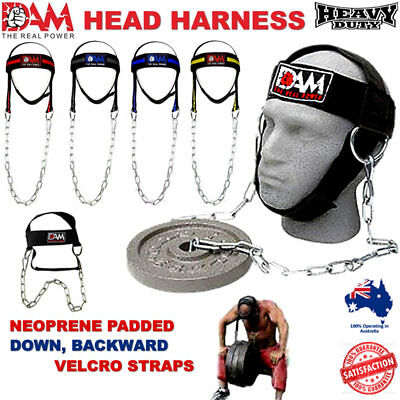 Dam Gym Weight Lifting Head Neck Strength Harness Strap Fitness Exercise New