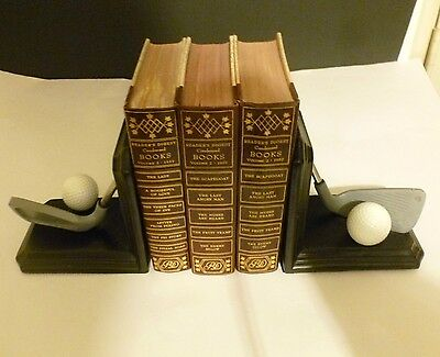 Golf Bookends-Ball#4.set Of 2.-Black & Gray.used.
