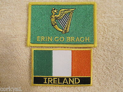 "2 Pc Set St Pats Ireland Tri/Color & ""ERIN GO BRAGH""  2Pc Embroidered Patches"