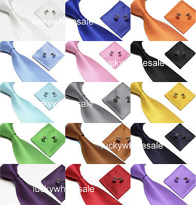 Woven Silk Hand Made Tie Cufflinks and Handkerchief Gift Set Hanky Wedding Party