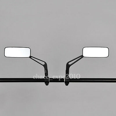 Motorcycle Black Rearview CNC Aluminum Side Mirrors Cafe Racer Bobber Clubman