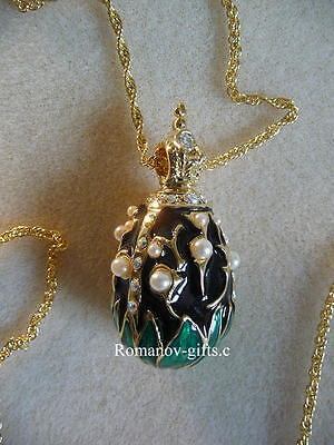 """Faberge """"Empress Marie"""" Lily of Valley Black Enamel & Pearl Egg Necklace"""