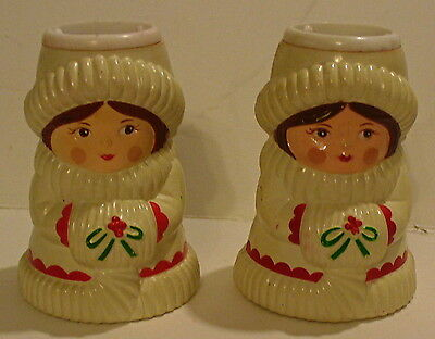PAIR OF VINTAGE AVON PLASTIC LITTLE GIRL W/MUFF CANDLE HOLDERS - HONG KONG