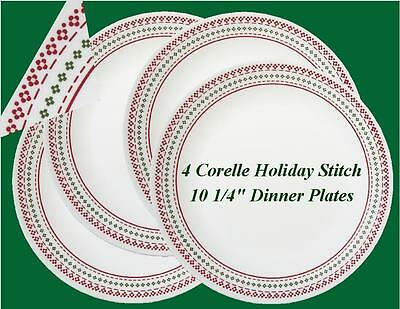 "4 Corelle Winter HOLIDAY Cross STITCH 10 1/4"" DINNER PLATES Christmas RED GREEN"