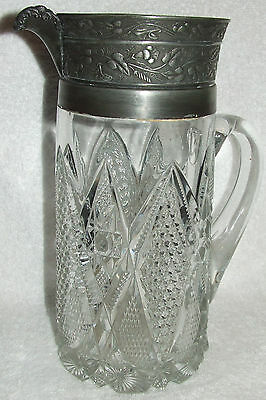 ANTIQUE LARGE HEAVY VICTORIAN CUT GLASS & METAL SILVER PLATE PITCHER EAPG FLORAL