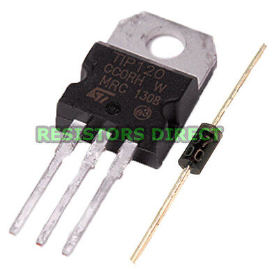 5pcs TIP120 Darlington Transistor TO-220 NPN BJT ST for Arduino & Free Diodes