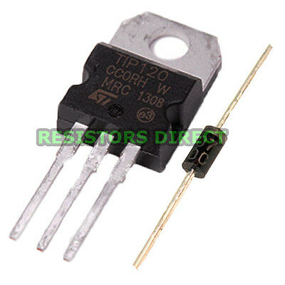 10pcs TIP120 Darlington Transistor TO-220 NPN BJT ST for Arduino & Free Diodes