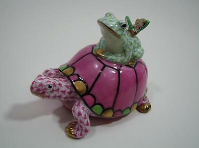 Herend SVHQ5715069-0-00 Pond Party Lime Raspberry Fishnet Turtle Frog NWOT $735