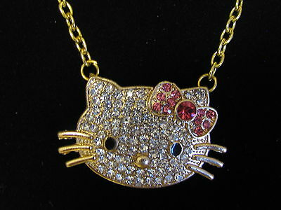 New RARE HELLO KITTY Gold Plated Pink Bow Pendant Clear & Pink Crystal Necklace