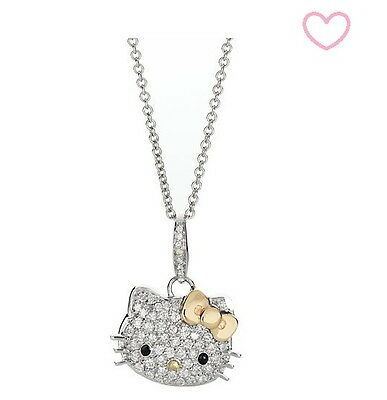 NEW  2012 HELLO KITTY Silver Gold Bow Pendant Clear Crystal Necklace