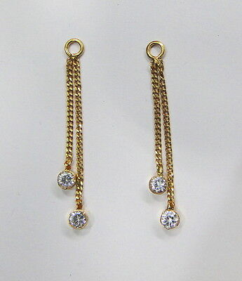 Vintage antique solid 20K Gold ear chain earring from Rajasthan India