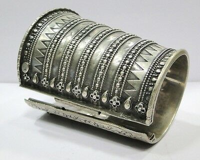 Vintage Antique Ethnic Tribal Old Silver Cuff Bracelet Bangle Rajasthan India