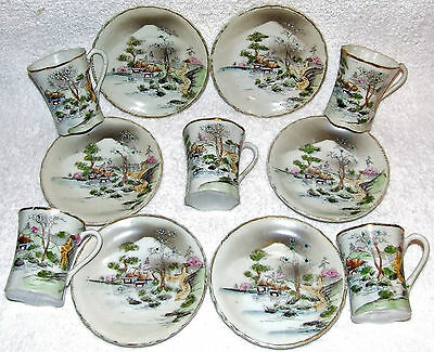 Antique Nippon Moriage Gold Gilt & Hand Painted 11 Pc. Tea Cup Saucer Set Meiji