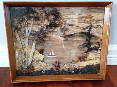 Vintage Collectable Australian Paper Bark Tree Folk Art Picture