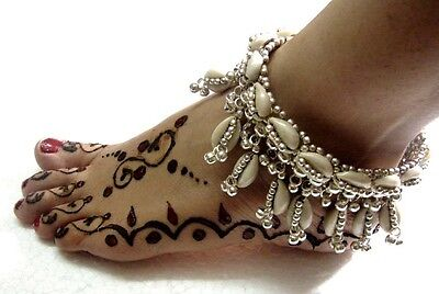 New Indian Kuchi Tribal Ethnic Belly Dance Hand Crafted Cowries Anklet Jewelry