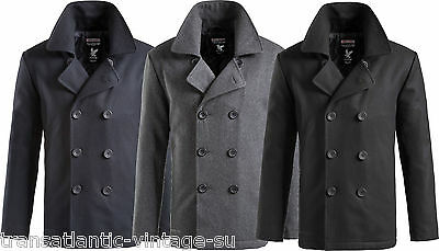 Surplus Vintage Us Navy Pea Coat Mens Classic Army Reefer Jacket Warm Wool Mix
