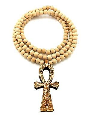 "ANCIENT ANKH CROSS GOOD QUALITY WOOD PENDANT 8mm/36"" WOODEN BEAD NECKLACE XJ219"