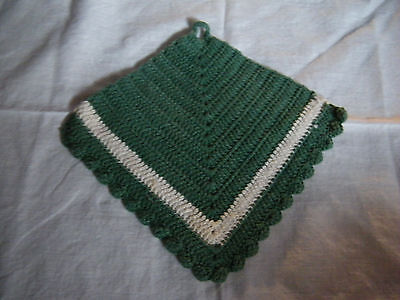 Collectible Handmade Crocheted Pot Holder Green Off White CUTE