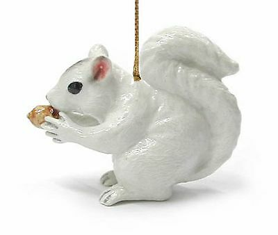 R271 Northern Rose  White Squirrel Christmas Ornament