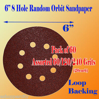 "60 X  60/120/240 Grit 6""x 8 Hole Sanding Disc Sandpaper Hook and Loop Palm Paper"