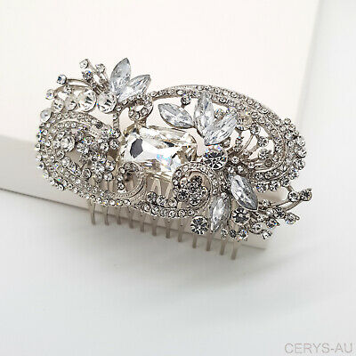 Vintage Wedding Bridal Silver Crystal Party Hair Piece Head Comb Accessories