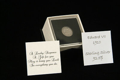 Lucky Sixpence Coin in Quadrum  - 1910 - 1919 in gift box with poem