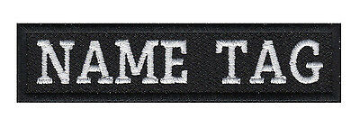 "Custom Embroidered 4"" x 1""  Name Tag Patch Motorcycle Biker"