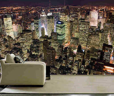 Manhattan at night-Wall Mural-12'wide by 8'high